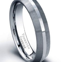 5 Mm Tungsten Carbide Ring Stone Finish Polished Center Size 9.5
