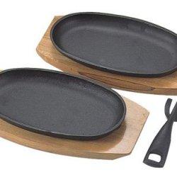 Set Of 2 Cast Iron Sizzling Steak Plate #5294