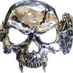 Vampire Skull And Knife Chrome Belt Buckle