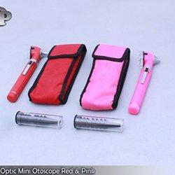 Ddp Pro Physician 2.5V Halogen Light Fiberoptic Otoscope Diagnost Set Pink & Red