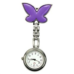 Hot Cute Butterfly Mental Nurse Clip-On Brooch Pendant Hanging Pocket Watch - Purple