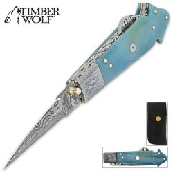 Timber Wolf Blue Bone Mosaic Ladder Pocket Knife
