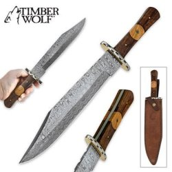 Timber Wolf Olive Wood Bowie Knife