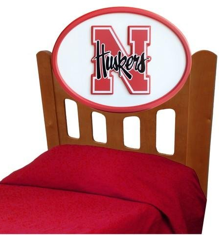 Image of Nebraska Cornhuskers Kids Wooden Twin Headboard With Logo (C0526S-Nebraska)