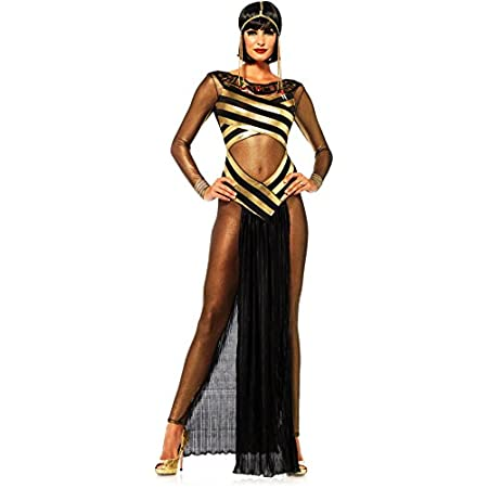 3 piece Goddess ISIS, includes gold shimmer cat suit, striped cut out dress with jewel collar, and matching draped head piece.