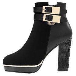 Guciheaven Women Winter New Style Double Buckle High Waterproof Short Boots(6 B(M)Us, Black)