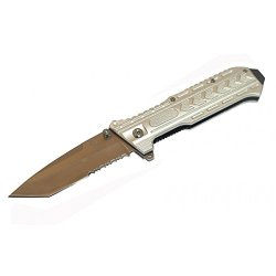 "New 8.5"" Silver Spring Assisted Metal Knife With Clip"