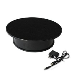 Black Velvet Top Electric Motorized Rotating Display Turntable For Model Jewelry Hobby Collectible Home Christmas Decor - With 110V Ac Adapter