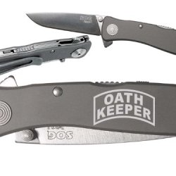 Oath Keeper Military Law Enforement Custom Engraved Sog Twitch Ii Twi-8 Assisted Folding Pocket Knife By Ndz Performance