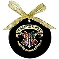 NEW HARRY POTTER HOGWARTS SCHOOL Round porcelain ornament Gold Bow-knot Christmas tree Pendant