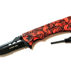 "8.5"" Zombie War Red & Black Skull Design Handle Spring Assisted Knife With Belt Clip & Fire Starter"