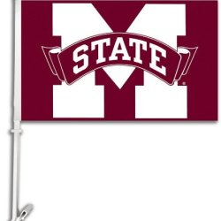 97021 - Mississippi State Bulldogs Car Flag W/Wall Brackett