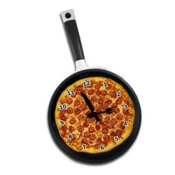 Frying Pan Clock With Pizza Graphic