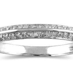 1/4 Carat Diamond Knife Edge Wedding Band In 10K White Gold