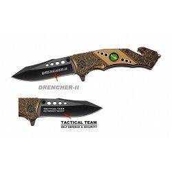 "New 8"" Folding Knife Gold Color Aluminum Handle"