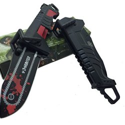 Z - Hunter With Red Splash Logo On Blade Black Stainless Steel Blade Knife - Chainsaw Black/Red Handle