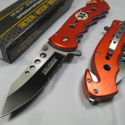 Tac Force Assisted Opening Rescue Ems Emt Tactical Pocket Folding Stainless Steel Blade Knife Outdoor Survival Camping Hunting - Orange