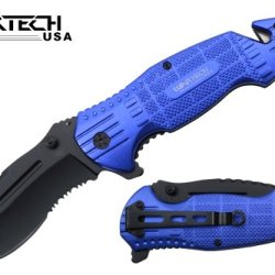 "Wartech 8"" Assisted Open Folding Tactical Survival Heavy Duty Pocket Knife Black Blade And Blue Handle"