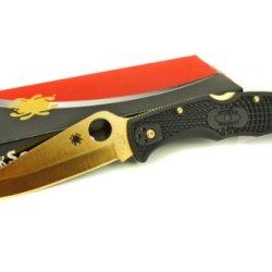 Spyderco Delica 4 Pocket Knife, Plain Edge, 24K Gold Finish