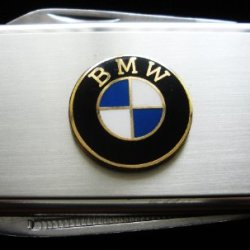 Bmw Silver Stainless Steel Money Clip With Knife & Nailfile In Body Of Clip