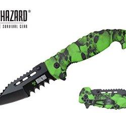 "Biohazard 8.5"" Assisted Open Rescue Folding Pocket Knife Green Skull Handle"