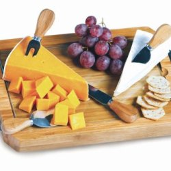 Eco-Friendly Bamboo Tempered Glass Cheese Board With Knives & Magnetic Storage