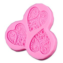 Annymart® Heart Shape Flower Silicone Embossing Fondant Mold Lace Fondant Mold Cake Icing Decoration
