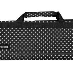 Messermeister 8-Pocket Padded Knife Roll, Black With White Dots