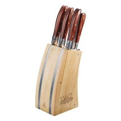 Western Laguiole 5 Piece Knife Block Set 'Interlocking W Mountaineers - Official Logo Engrave'