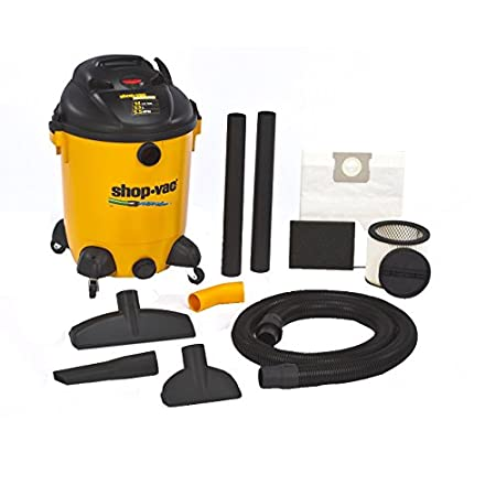 Shop-Vac 14-Gallon 5.5-Peak HP Ultra Pro Series Wet/Dry Vac with Built-In water pump. Comes with versatile accessory assortment that includes 8-foot by 2-1/2-Inch Lock-on(r) Hose, 22-1/2-Inch Extension Wands, 14-Inch Floor Nozzle, Crevice Tool, 8-Inc...
