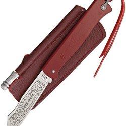 Douk-Douk Knives Red Folder With Artwork Sheath And Sharpener