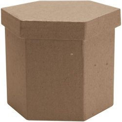 Dcc Paper Mache Tall Hexagon Box, 3 By 3 By 3-Inch
