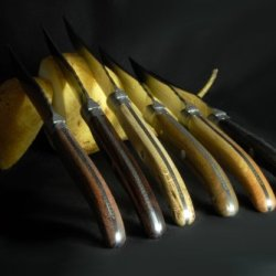"Claude Dozorme Laguiole 6-Piece Set Of Steak Knives - ""Bois Panachã©S"" / Handmade In France"