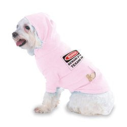 Warning Beware Of The Texans Fan Hooded (Hoody) T-Shirt With Pocket For Your Dog Or Cat Size Small Lt Pink