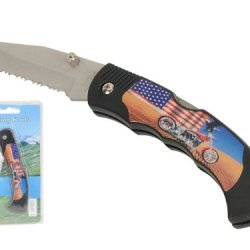 "Wild Animals Ramboo Hunting Knife Series - 3"" Blade ""Usa Flag Motorcycle Theme"" Pocket Knife With Clip"