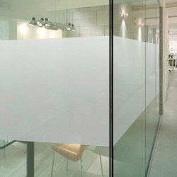 Duofire White Smoke Stained Non-Adhesive Privacy Glass Film Ds001W(24X120Inch)
