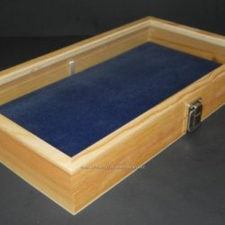 Natural Wood Glass Top Lid Blue Pad Display Box Case Medals Awards Jewelry Knife