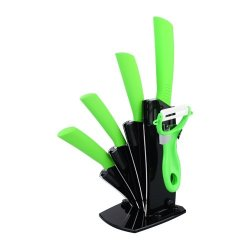 """Fashion Kitchen 3"""" 4"""" 5"""" 6"""" Ceramic Knife Set With Peeler And Knife Holder-Green And White"""