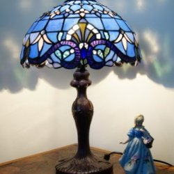 "Luxee Tiffany Style 12"" Wide Baroque Bedside Lamp*High Quality Stained Glass"