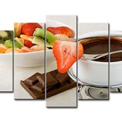 5 Panel Wall Art Painting Fondue Kiwi Strawberry Chocolate Pictures Prints On Canvas Food The Picture Decor Oil For Home Modern Decoration Print