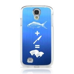 Fish + Knife = Sushi Blue Aluminum Back On Clear Samsung Galaxy S4 Plastic Case Cover [Anti Slip] Supports Premium High Definition Anti-Scratch Screen Protector; Durable Fashion Snap On Hard Case; Coolest Ultra Slim Case Cover For Galaxy S4 Supports Samsu