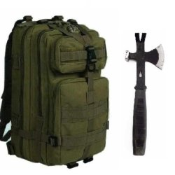 """Ultimate Arms Gear Surviaval Combo: 13"""" Tactical 3 In 1 Mulit-Use Emergency Supply Tool Chop Hatchet Axe + Flat Head Hammer + Wrecking Ripping Pry Bar With Rubberized Grip Handle + Od Olive Drab Green Compact Level 3 Full Featured Assault Pack Backpack 3"""