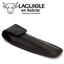 Laguiole En Aubrac Eca Black Leather Belt Pocket For 11/12 Cm Knives - Knife Case - Quality Sheath