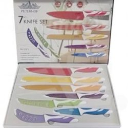 Peterhof 7Pc Rainbow Knives Set Non Stick, Antibacterial/Ergonomic Ph-22372