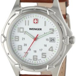 Wenger Men'S 73110 Standard Issue Xl White Dial Brown Leather Strap Watch