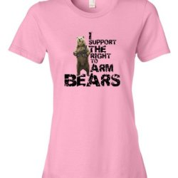 I Support The Right To Arm Bears Tee Shirt Womens S Pink N