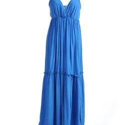 Anna-Kaci S/M Fit Blue V Neckline Knife Pleat Tiered Ruffle Hem Empire Dress