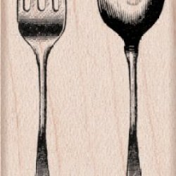 "Hero Arts Mounted Rubber Stamps 1.5""X2""-Fork And Spoon"