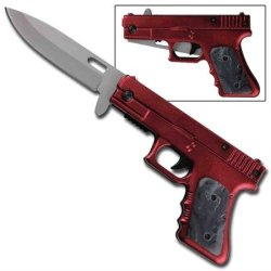 Fully Loaded Spring Assisted Pistol Knife - Red Wine