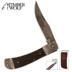 Timber Wolf Damascus Pocket Knife & Leather Sheath